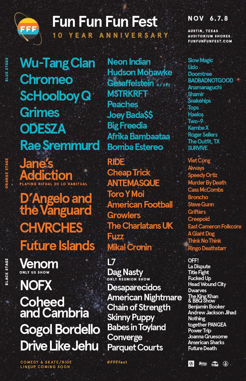 Fun Fun Fun Fest 2015 Schedule